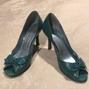 "3"" teal peep toe heels"